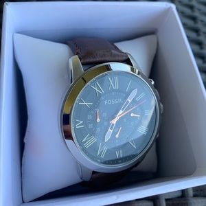 Fossil leather band stainless steel